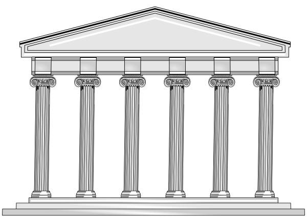 grosser griechischer und roemischer tempel