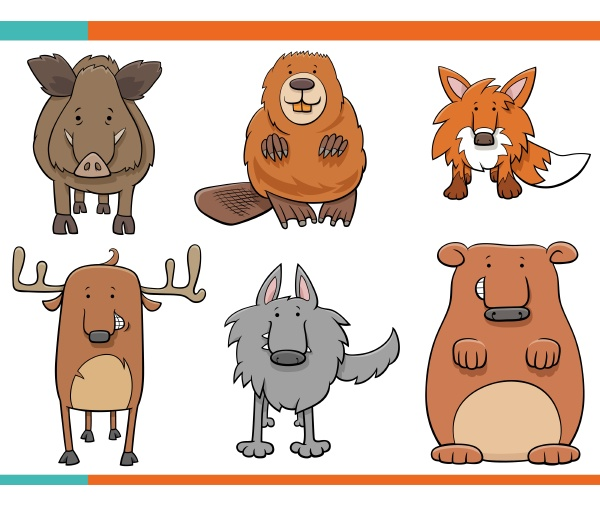 cartoon illustration von lustigen wilden tieren