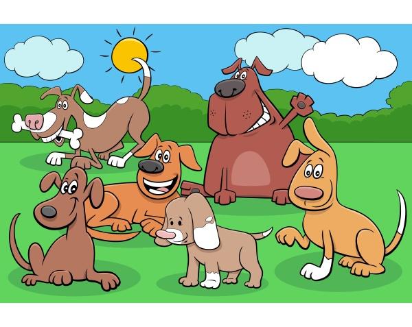 glueckliche hunde und welpen cartoon figuren