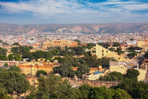 panorama der luftaufnahme von jaipur rajasthan