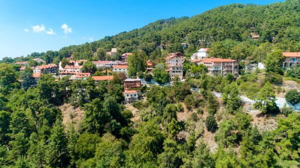 aerial pano platres village limassol zypern