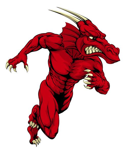 roter drachen maskottchen sprinten