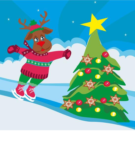 weihnachten redes hirsch mit schal schlittschuhe