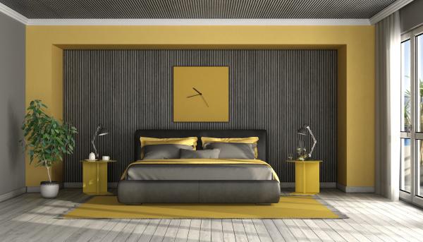 schwarz und gelb modernes hauptschlafzimmer