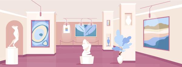 trendige kunstgalerie flache farbe vektor illustration