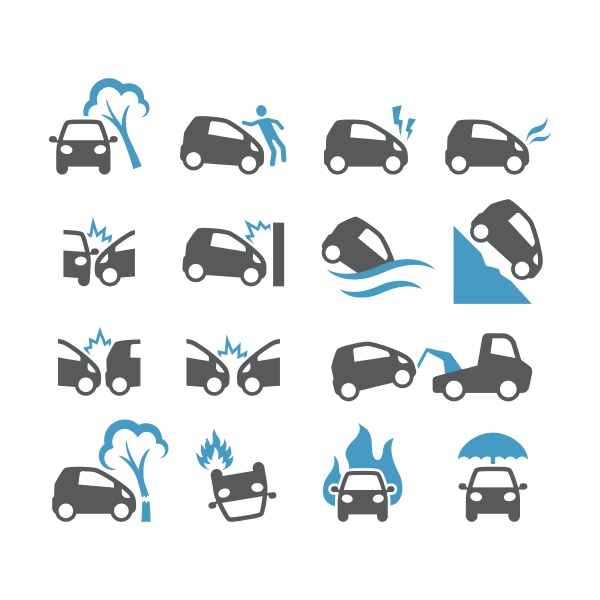 frontalkollision quetschung UEberschwemmung feuer autounfaelle glyphensymbole