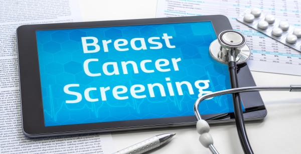 das wort brustkrebs screening auf dem