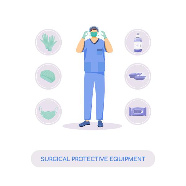 chirurgische schutzausruestung flaches konzept vektorillustration