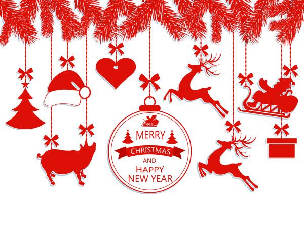 neujahr weihnachten verschiedene dekorationen haengen an