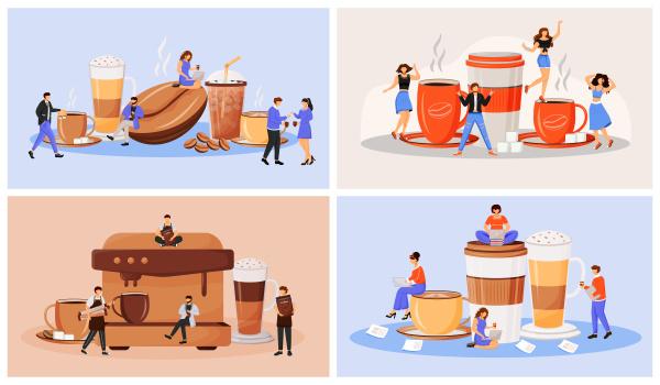 kaffeekultur flaches konzept vektor illustration set