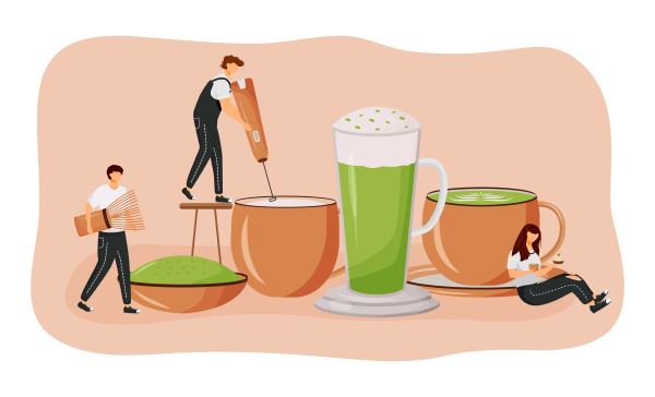 matcha latte flaches konzept vektorillustration gruenteepulver