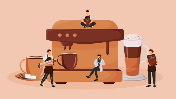 automatische kaffeemaschine flaches konzept vektorillustration zubereitung