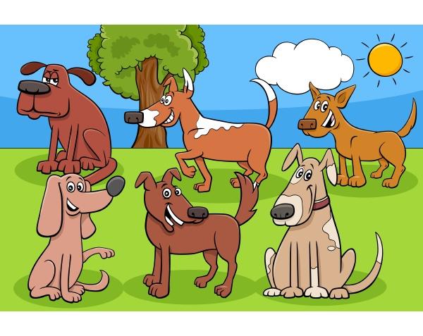 cartoon hunde und welpen comic figuren