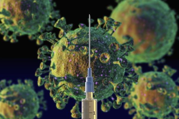 spritze mit coronavirus impfstoff