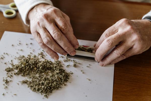 nahaufnahme des pensionierten seniors rollt unkraut