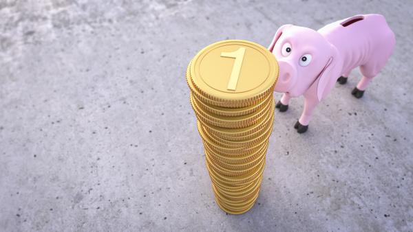 dreidimensionales rendering von duennem unterernaehrten sparschwein