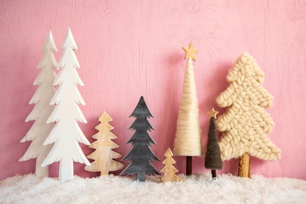 weihnachtsbaeume schnee retro rosa grunge holz