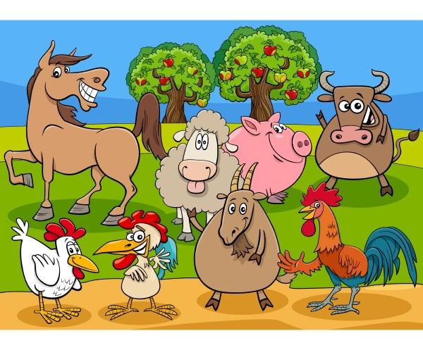 lustige nutztiere cartoon figuren gruppe