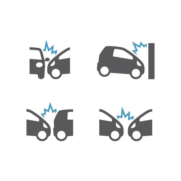 auto zerquetscht vorfall schwarz vektor symbol
