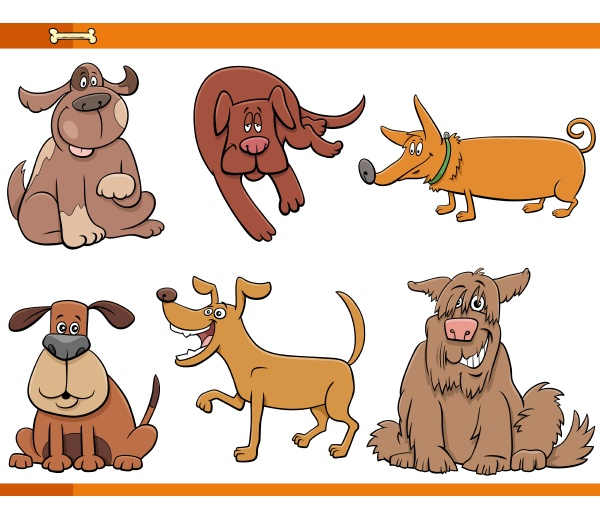 cartoon hunde und welpen tier charaktere