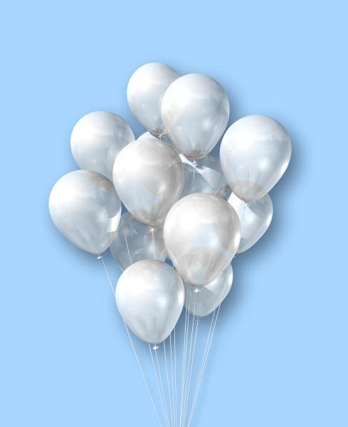 weisse luftballons gruppe auf hellblauem hintergrund