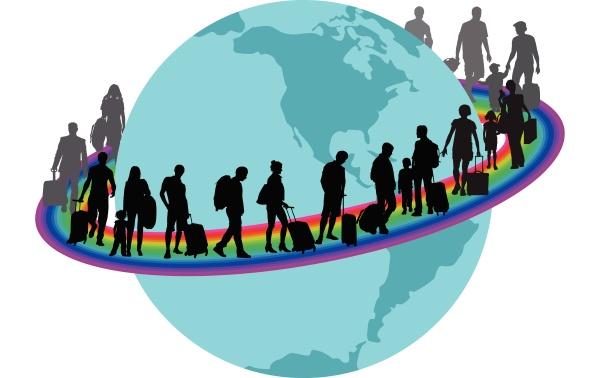 travelers migrantson auf regenbogen rund