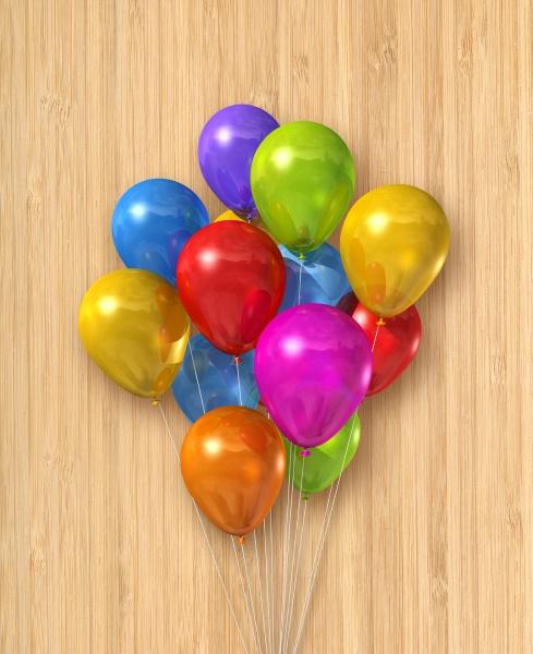 bunte luftballons gruppe auf holzigem hintergrund