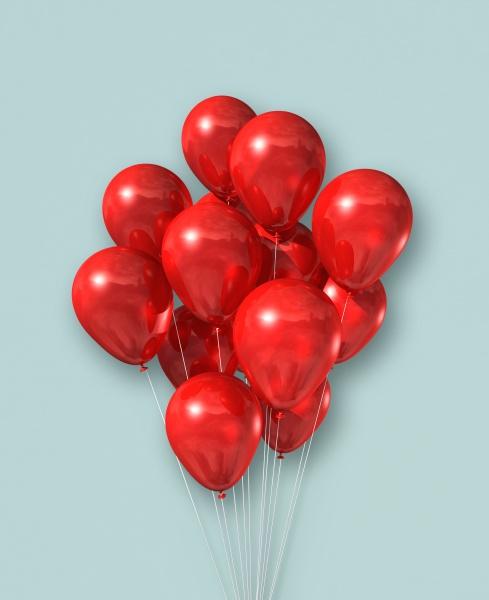 rote luftballons gruppe auf hellblauem hintergrund