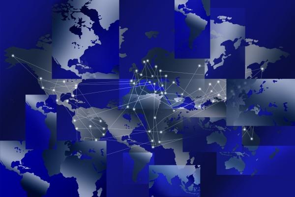 fragmentierte weltkarte mit globalem netzwerkraster