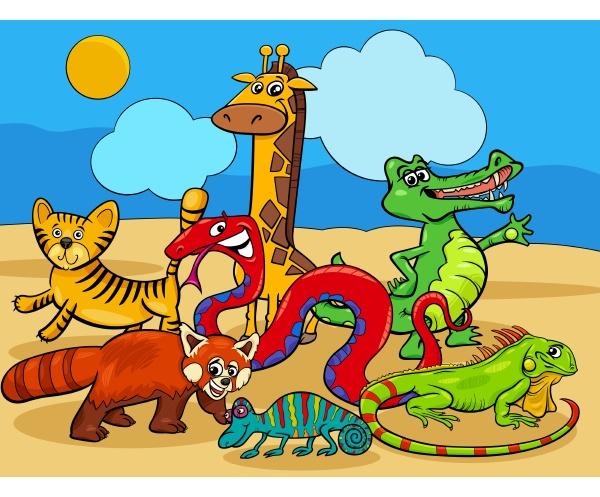 wilde tiere zeichentrickfiguren gruppe