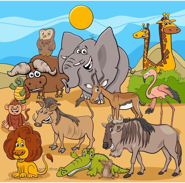 cartoon wilde tier figuren gruppe