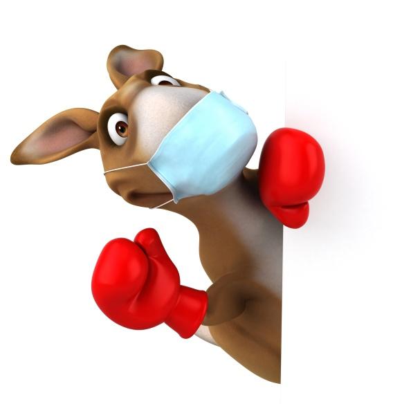 spass cartoon kaenguru mit einer maske