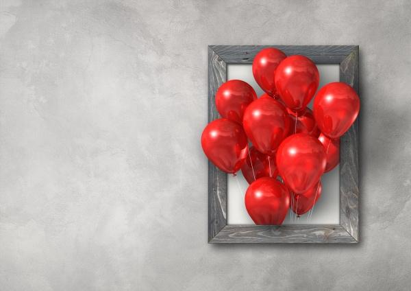 rote luftballons gruppe in einem bilderrahmen