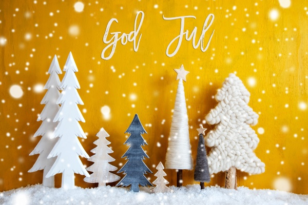 weihnachtsbaeume schneeflocken gelber hintergrund gott jul