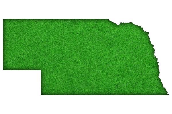 karte von nebraska auf gruenem filz