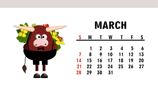 niedlichen kalender 2021 jahr des stiers