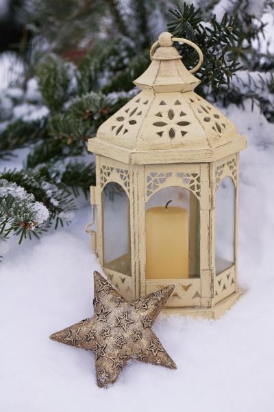 winter stillleben mit laterne