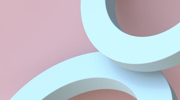 zwei blaue bogenform 3d