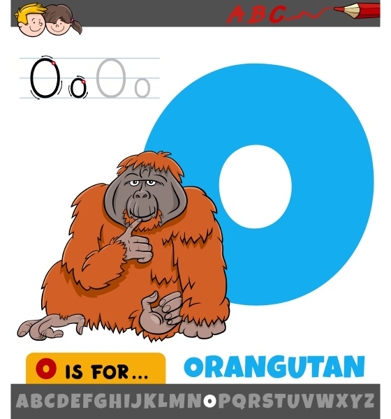 buchstabe o arbeitsblatt mit cartoon orang