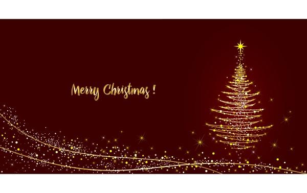 grusskarte weihnachtsbaum glaenzend mit gold