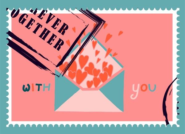 romantische briefmarken umschlaege und karten