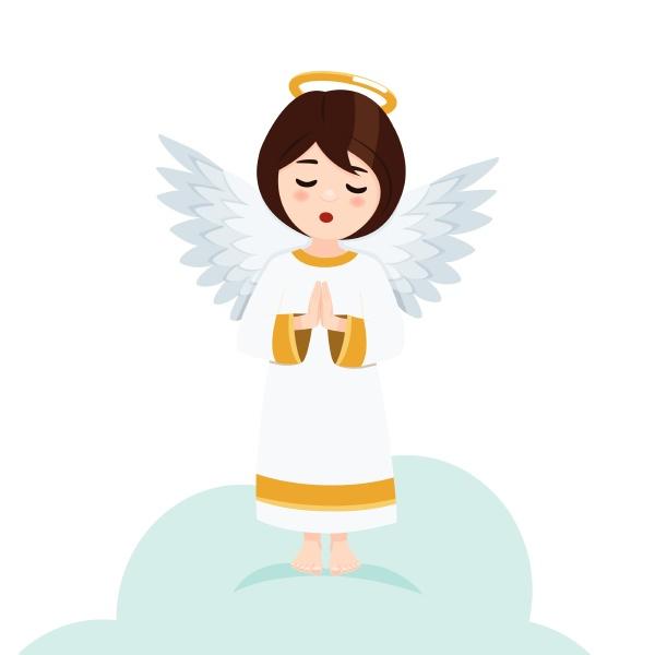 betender engel auf weissem hintergrund isolierte
