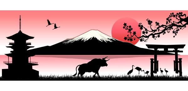 stier auf dem hintergrund des fuji