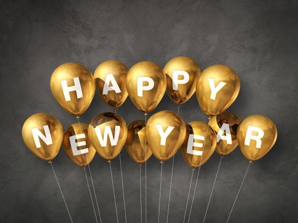 gold gluecklich neues jahr luftballons auf