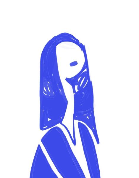 minimalistische blaue frau portraet schablone stil
