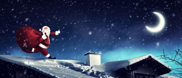 weihnachtsmann mit einer tasche voller geschenke