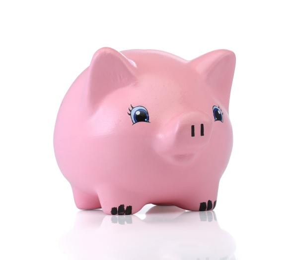 rosa sparschwein auf weissem hintergrund