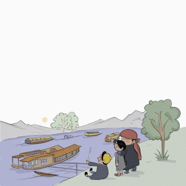kashmiri familie beobachtet hausboote auf jhelum