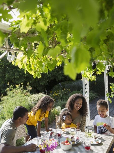 glueckliche familie beim mittagessen am sonnigen