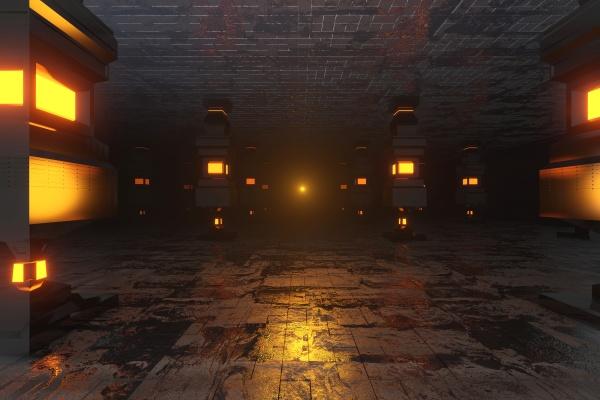 dreidimensionale ungelle des dunklen futuristischen innenraums